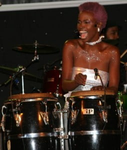 Coscap Foundation Gala - Blak Kla Soyl (SAY: Black Clay Soil) slapping the living daylights out of her late father's bongo drums