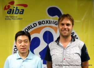 L to R - Technical Delegate Yue Yan & Sports Director Olaf Veltman, both held talks with Sports Minister Stephen Lashley to fine-tune arrangements for the Women's World Boxing Championships