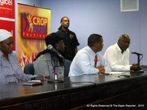"L to R - TC {Current Sweet Soca Monarch}; Khiomal {Co-Lead Vocalist of Krosfyah}; Alex Tasker from Digicel Marketing; David Jordan {NCF Consultant} & Standing: Wayne ""Kool"" Simmons - Corporate Communications Officer (Ag)"
