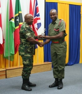 Captain Kayode Sutton (left) receives an award at the conclusion of the CJCSC Training. {All photos courtesy Captain Kayode Sutton}