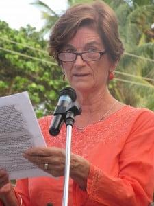 Christine Barrow relays sample of her writings at Arthur's Bar in Rampanalgas