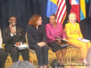 FILE PHOTO - Extreme right: Sam Condor, Deputy PM St Kitts, Unidentified Official, Sen Maxine McLean - Barbados & US Sec of State Hillary R. Clinton