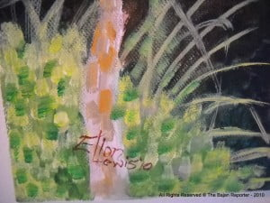 """Detail of """"...Revisited"""" with signature of Artist"""