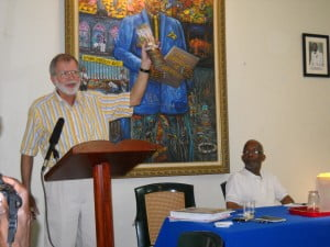 One of Barbados' most famous Canadians, Bob Verdun, making a point down at George St recently.