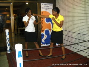 Two of the Bajan competitors in a staged preview of what fans could expect