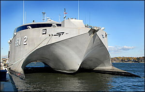 The HSV-2 Swift, a high-speed catamaran is on lease to the Navy and is docked at the Naval Academy. {IMAGE COURTESY - HometownAnnapolis.COM}