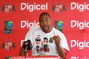 Head Coach, John Barnes, addresses media at the launch of the Digicel Kick Start Clinics in Trinidad.