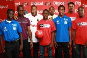 Head Coach, John Barnes, with participants of the Digicel Kick Start Clinics in Trinidad