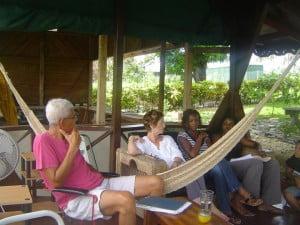 L to R - Philip Nanton sharing his writing experiences with Shakirah Bourne, Christine Barrow and Desiree Seebaran