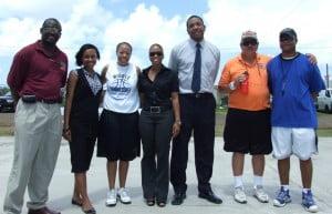 (left to right) Director of Sport Dave Connor, Digicel Rep, former WNBA player Deandra Davis, Sharez Laws (Digicel) Honourable Glen Phillip, Coach John Spezia, Wendell Pemberton (Bird Rock Sports Club)