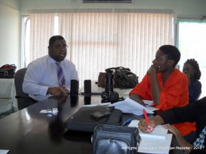 Treehouse Communications' Dale Forde poses a query to NCF's Marketing Officer, Andre Hoyte