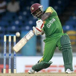 Travis Dowlin: topscored with 59 for Guyana. (Picture by Anthony Harris.)