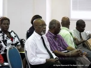 Deputy NCF Chair C. Griffith in shirt & tie with NCF Committee member Errol Rollins in blue open-necked shirt at Griffith's left - you'll recall Rollins was one of the best Directors CBC had for TV Production, be it News or Home-grown commercials