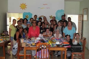 Mrs. Marion Pierre and volunteers from Humber College