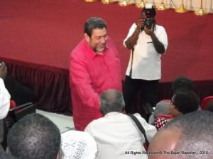 Dr Gonsalves glad-handed many of the audience that night while they waited for proceedings to start...