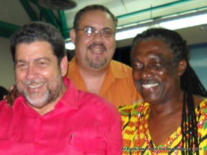 Myself jockeying for position since Gabby's daughter was to the left and did not move, but I asked Dr Gonsalves and 'Comrade' Gabby first!