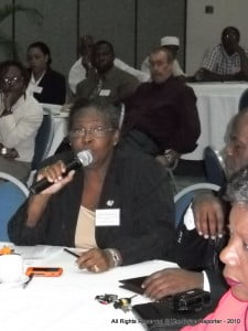 Judy Thomas of the DEM answering question posed by the Bajan Reporter