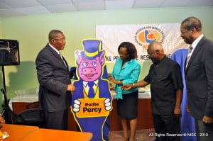 """Left to Right: Sen. Harry Husbands, """"Polite Percy"""" one of the Values to be touted across Barbados (Why"""" If we have them, then why are we promoting them?), BWU Gen. Scty. - Sir Roy Trotman; ne LeRoy, looking on is Chair of the Barbados Private Sector Agency - Ben Arrindell"""