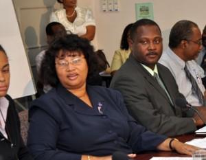 Dr Joy St John & Ne, uh, Donville Inniss - IMAGE COURTESY: Barbados Advocate