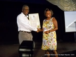 PM (Ag) Freundel Stuart recipient of Presentation made by Marian Moseley of the Mayor's Office in Burnaby, Canada, BC after the real Prime Minister was unable to visit the Canadian city in May