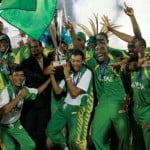 Guyana celebrate winning the CT20. (Picture by Anthony Harris)