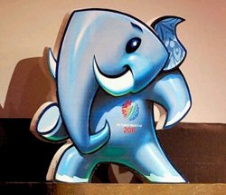 Stumpy was represented by a real life elephant at the launch in Colombo.