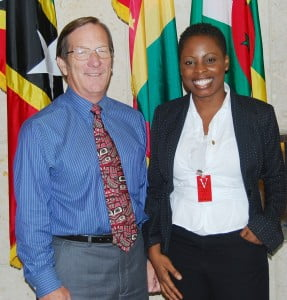Curllin Alexis of Grenada calls on Charge d'Affaires a.i. Jim Goggin; Final selection was made by the Fulbright Foreign Scholarship Board.