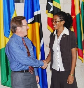 Donnalin Constantin of St. Lucia calls on Charge d'Affaires a.i. Jim Goggin; The Foreign Fulbright Student Program is administered annually by the United States Embassy, Bridgetown for applicants from the Eastern Caribbean.