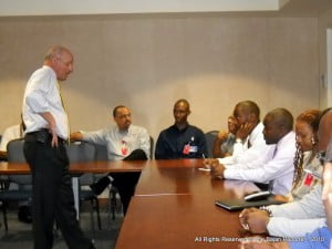 {Standing} Wexler has been to Grenada and Barbados so far, with St. Lucia and St. Kitts-Nevis still on his itinerary, in each territory he liaises with police and prison officials, judges, lawyers and civil society stakeholders in Tourism and Business.