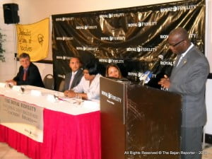 Education Minister Ron Jones addressing participants at the Savannah earlier Wednesday