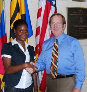 Petra Sobers of Barbados calls on Charge d'Affaires a.i. James Goggin; For additional information on this program, visit the website of the U.S. Embassy at Bridgetown http://barbados.usembassy.gov/fulbright_program.html or the Fulbright website: http://foreign.fulbrightonline.org