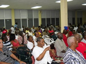 Part of the audience who came to hear both the ex-DLP President and reminiscences from the MP for St Peter