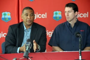 WICB CEO, Dr. Ernest Hilaire, with Digicel Group Marketing Director, Kieran Foley