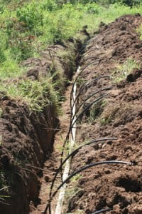 Irrigation pipes in the field