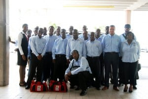 The Anguilla National football team with Coach, Scott Cooper, before they departed from Clayton Lloyd International Airport yesterday ahead of the first group matches of the Digicel Caribbean Cup 2010 which kick off tomorrow in Juan Ramon Loubriel Stadium, Puerto Rico.