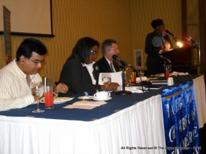 Political Leader of the BLP & Leader of HM's Loyal Opposition of Barbados (2nd from Left) preparing to make one of her key presentations to a majority of Private Sector Heads at Hilton Barbados