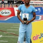 KEMARKI ABSALOMOF ST GEORGES WINNER OF THE BOYS HIGH JUMP WITH A LEAP OF 6FT 10 IN. EVENT SPONSORED BY GRACE FOODS