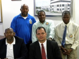 Delta Petroleum's delegation L-R Front - Bevis Sylvester, Andrew Vascollenous, Back Row Diego Penn, Samuel Mc Sheen and Rawle Nelson