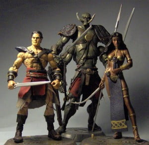 The real John Carter in leather accoutrements with a similarly clad Tars Tarkas and a sinewy Dejah Thoris in a casted mould - BajanReporter.com