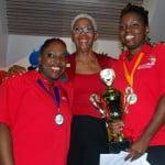 Coach Wendy Bishop w winners Akeila Chapman Clesita Moore