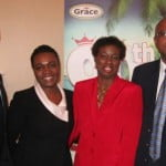 From left Douglas Orane with High Commission attaché Kerry Dixon Acting High Commissioner Joan Edwards and Ryan Mack head of Grace Foods UK
