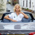 {IMAGE VIA - carpages.co.uk} Check out the Trident on Jodie's right side of her polo blouse - Maserati's Ambassador wearing La Martina's 2011 Polo range of clothing at London's Hurlingham Club