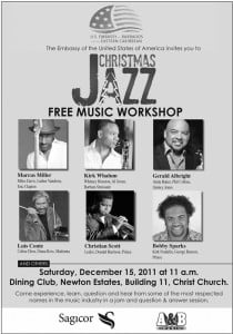 The Bridgetown U.S. Embassy hosts a free jazz workshop this weekend.