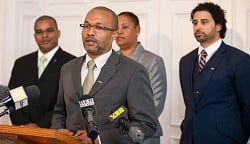 New PLP leader Marc Bean with new Senators Diallo Rabain, Renee Ming and Marc Daniels. (Photo by Kageaki Smith)