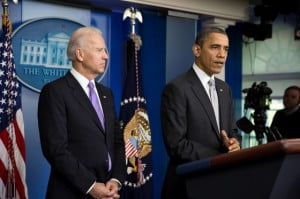 President Barack Obama, with Vice President Joe Biden, delivers a statement and takes questions about the Administration's gun policy process in the wake of the shootings in Newtown, Connecticut, in the James S. Brady Press Briefing Room of the White House (Official White House Photo by Pete Souza)