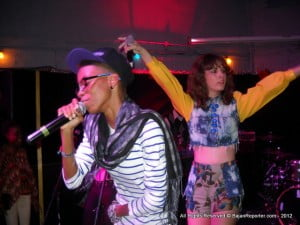 Adaeze (specs) held the crowd's attention easily with her confidence - hope Lauren Simm (arms extended) learns from the powerful yet slim rapper?