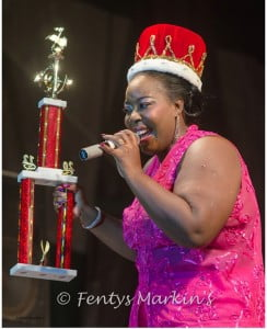 Chrystal Beckles of Barbados performs after winning the 2nd Euphony Vibes Regional Female Calypso Competition on Friday, December 22, 2012 at Festival City, Montserrat. (A Wayne Fenton Photo)