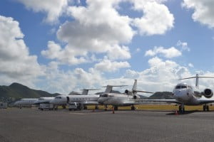 Private jets already parked up at SXM Airport for the year-end holiday season. (SXM Airport photo).