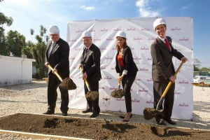 Left to right – Digicel Chairman, Denis O'Brien, Digicel Group CEO, Colm Delves, and Haiti's Minister of Tourism, Stéphanie Balmir Villedrouin and Marriott International President and CEO, Arne Sorensen break ground on the new hotel in Port au Prince, Haiti