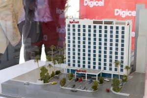 A close up of the model of the new Marriott Hotel in Port au Prince, Haiti